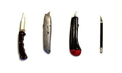 Different types of blades one can use to sharpen the pencil. Some good, one not so good..