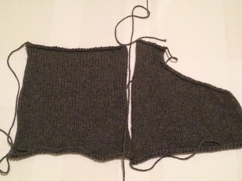 Sweater back and right front set up for mattress stitch.