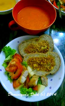 Homemade carrot soup, garlic bread and chicken salad