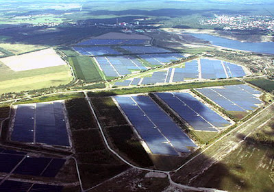 Solar park built on what used to be an open pit mine in Germany.
