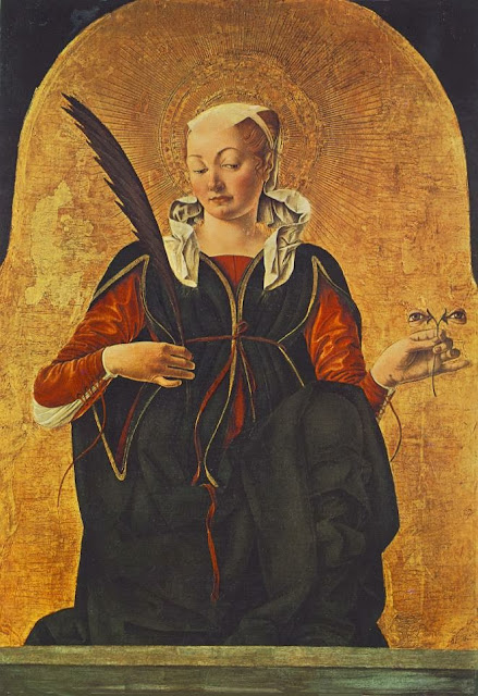 Francesco del Cossa - Griffoni Polyptych St Lucy