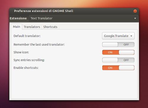 Text Translator su Gnome Shell - preferenze