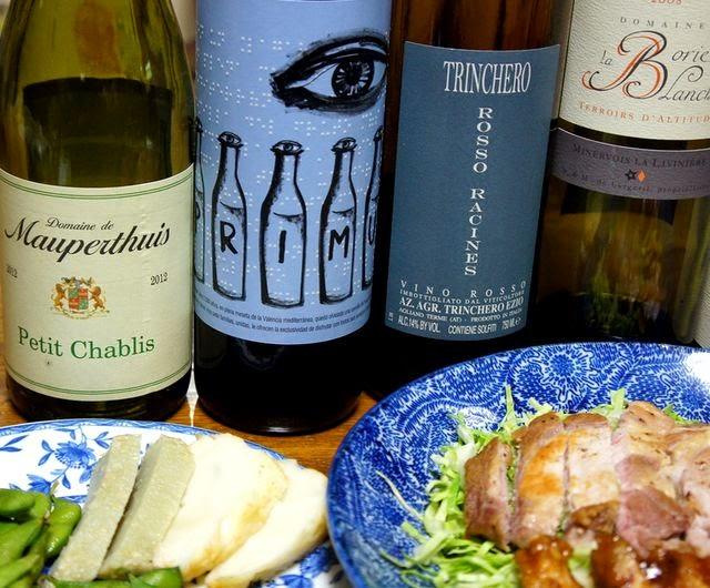 鳥肉、豚肉、生ハムとおいしいワイン