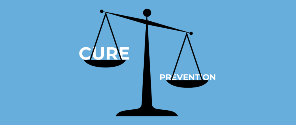 unbalanced scale with cure and prevention