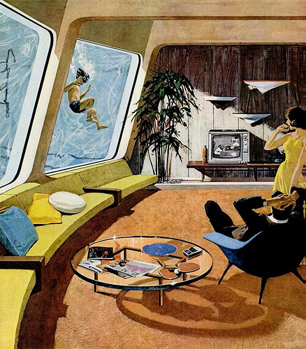 Retro futurism homes on pinterest 1950s decor for Rooms to go 1960