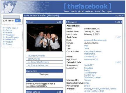 2005 yılında Facebook