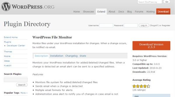 WordPress File Monitor Plugin