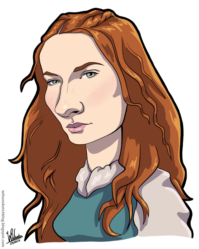 Cartoon caricature of Sansa Stark from Game of Thrones.
