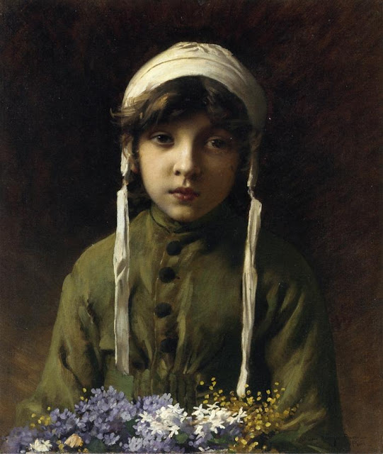 Charles Sprague Pearce - The Little Flower Girl