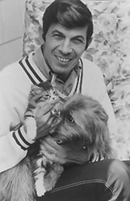 Leonard Nimoy, a cat, and a dog
