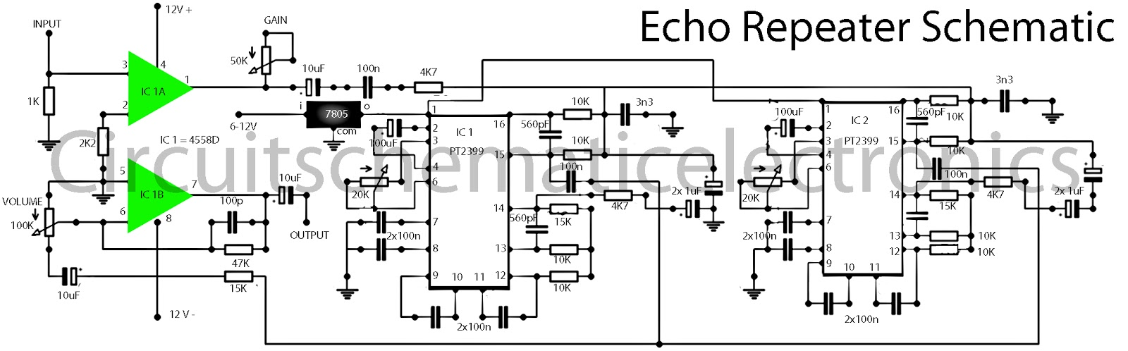 Echo effect with IC PT2399 & 4558 - Electronic Circuit
