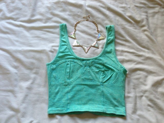 Primark Green Bralet / Crop Top and Topshop Triangle Necklace
