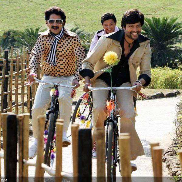 Ankush Choudhary (R) in a still from the Marathi movie Duniyadari.