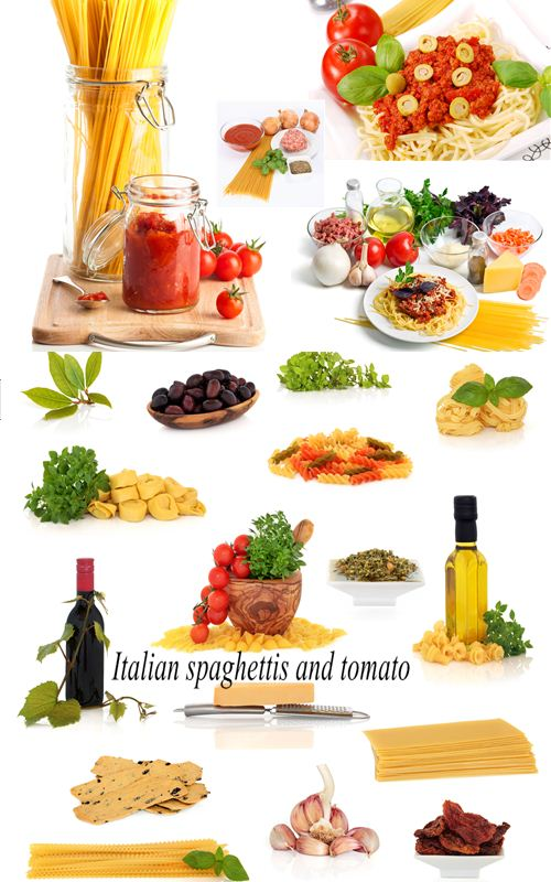 Stock Photo: Italian spaghettis and tomato