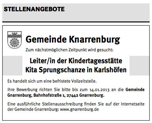 Stellenanzeige Knarrenburg