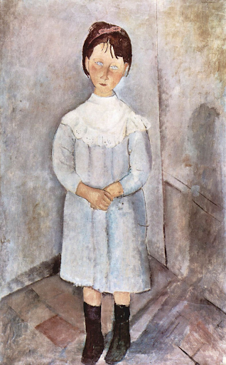 Little girl in blue,1918. Oil on canvas.By Amedeo Modigliani
