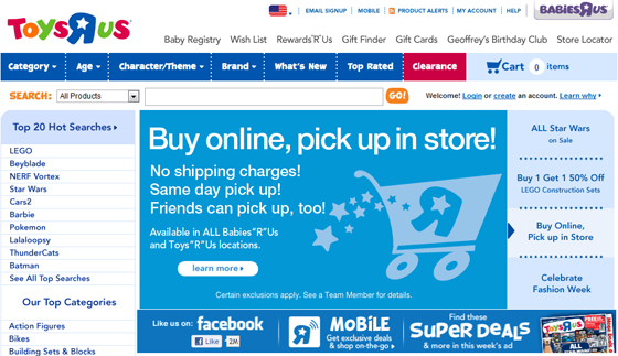 Toy's R Us 2012 homepage