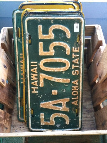 Hawaii License Plates Pagoda Kauai vintage antique shop store Kapaa Hawaii
