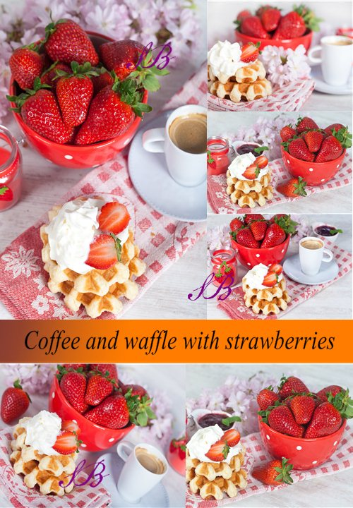 Stock Photo: Coffee and waffle with strawberries