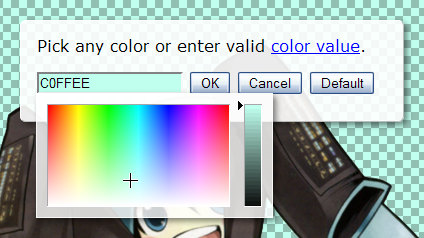 Color setting dialog with color picker