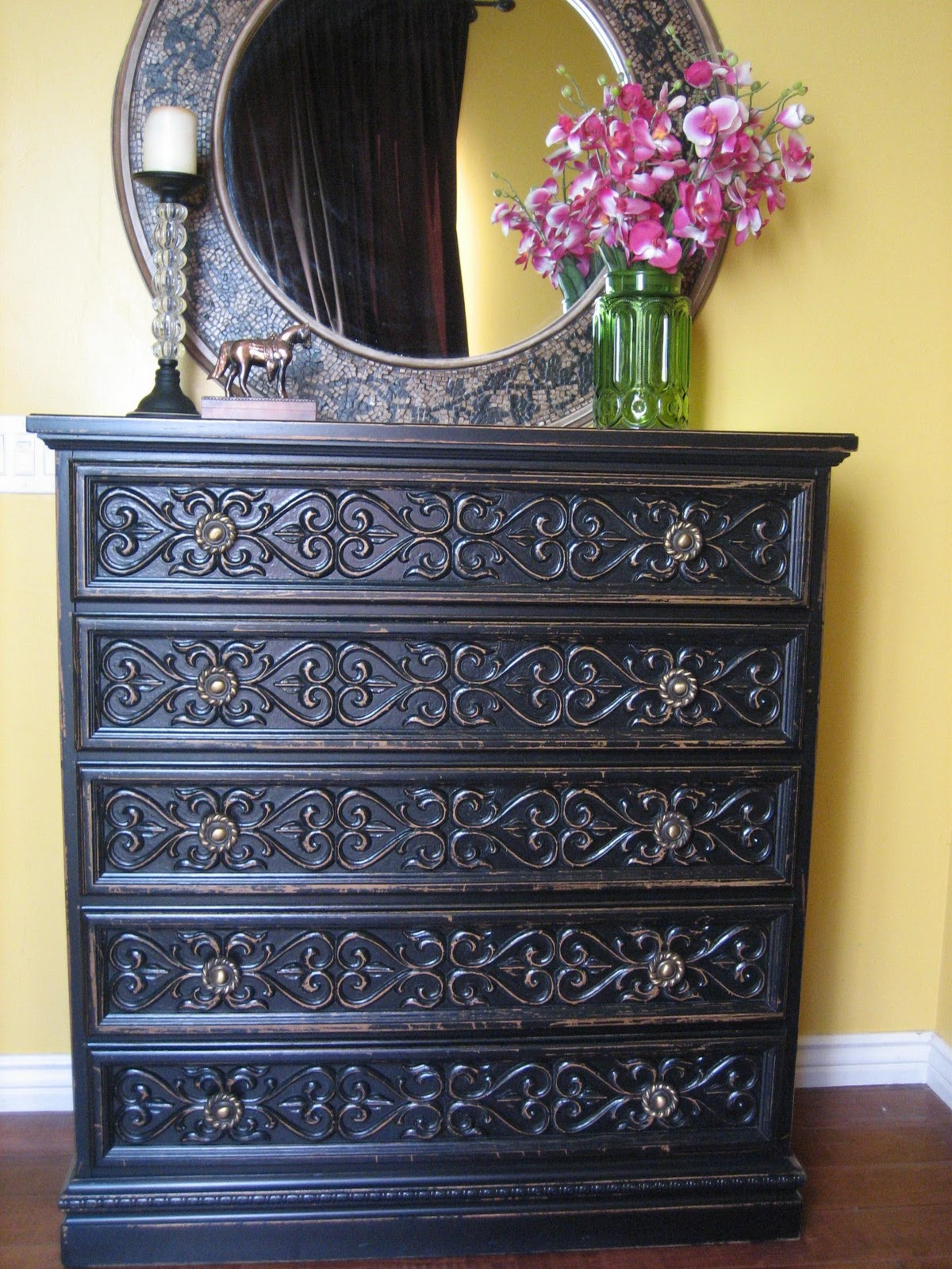 European Paint Finishes Black Carved Dresser