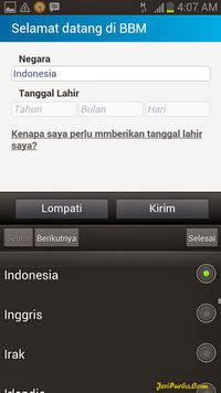 Memasukkan Nama Negara dan Tanggal Lahir di BBM For Android