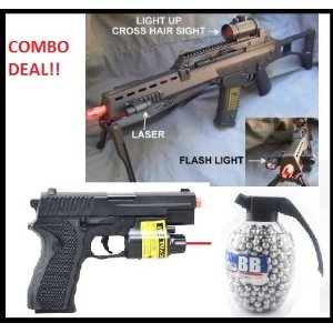 Double Eagle G36 Spring Airsoft Gun w/ Bipod, Laser, Red Dot