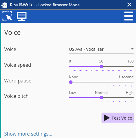 Voice settings screen