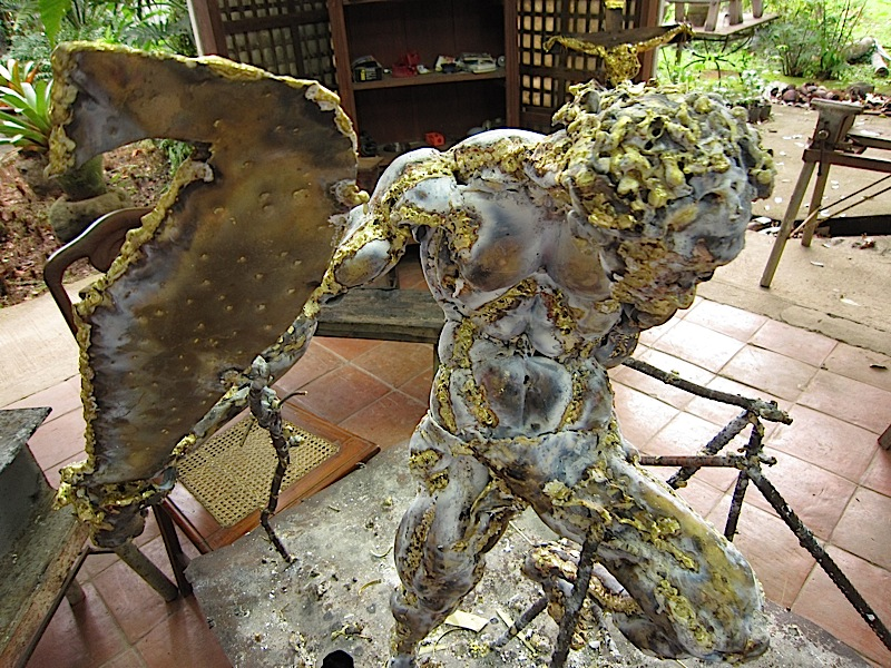 farmer with bolo, a Carlito Ortega bronze sculpture in progress