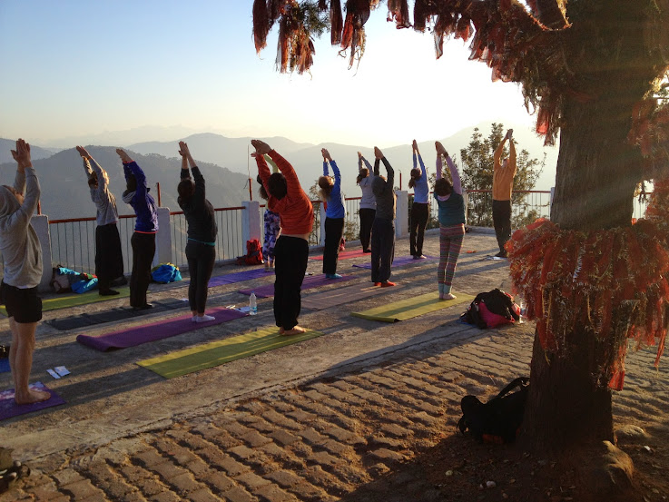 Yoga Class at Kunajapuri Temple in the Himalayas