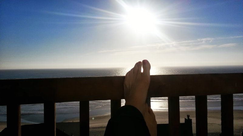 DarkEm's feet on the deck railing of a beach house, with a brilliant late-day sun in the background, declining over the Pacific