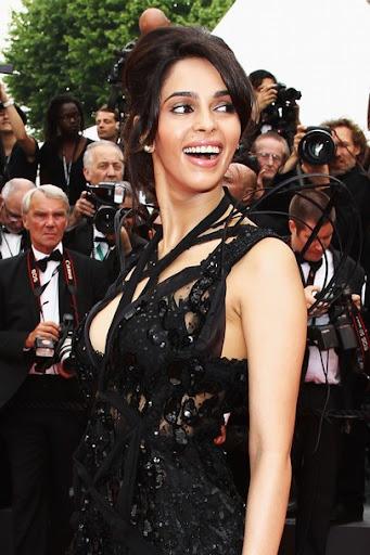 Mallika Sherawat in a Designer Wear Black Dress at Cannes