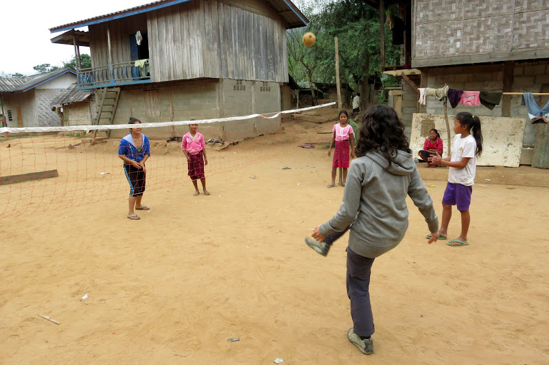 Alicia playing Kator with village girls