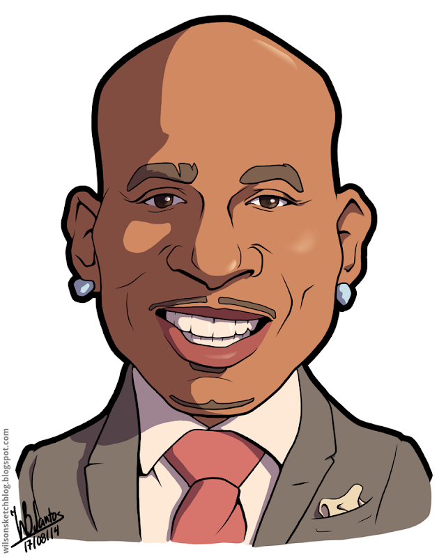 Cartoon caricature of Daymond John.