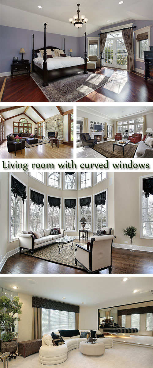 Stock Photo: Living room with curved windows