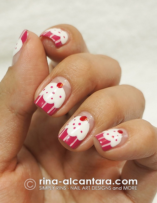 Dazzled Cupcakes Nail Art Design