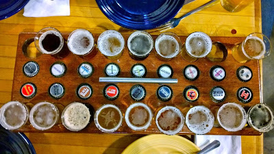Visiting Russian River Brewing Company and trying a sampler tray of ALL the beers
