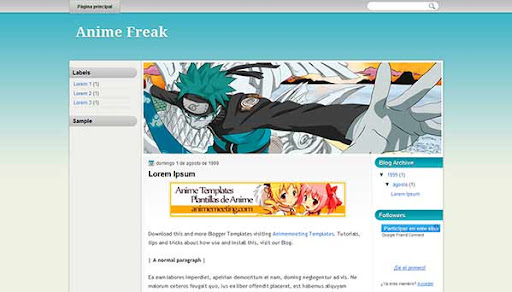 'Anime Plantilla Blogger' Anime Freak Template