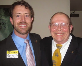 "23 March 2014 Michael McCarthy 2000 [on left]and Tom Rousseau ""Youngest and Oldest Grads"" at the Albany, NY Founders Day Dinner"