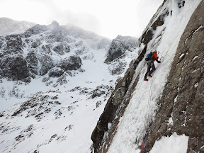 "Andy Owen leads ""The Curtain"", IV, on Ben Nevis."