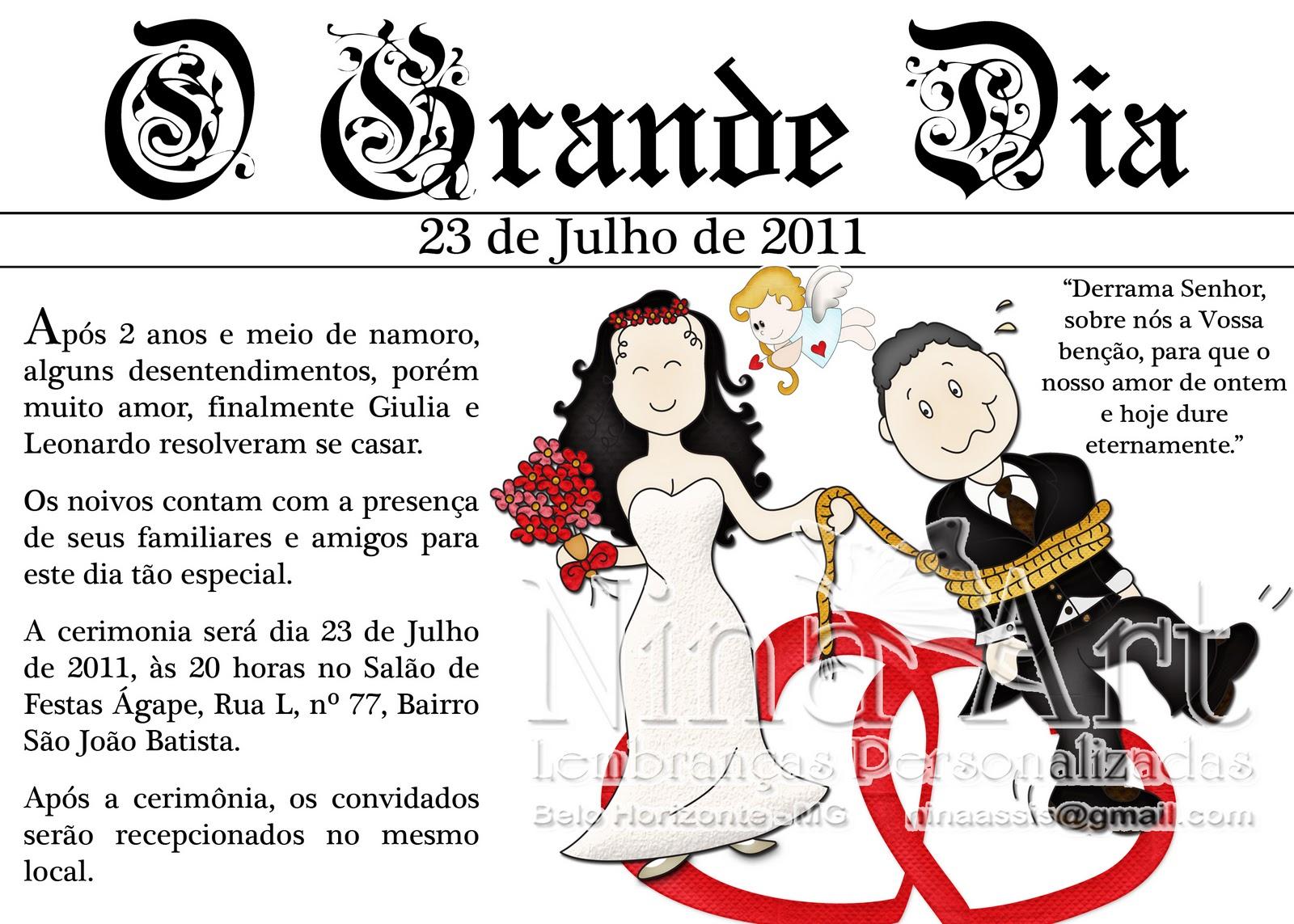 Convites Para Casamento Tipo Jornal