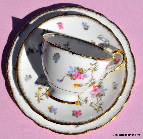 1950s Royal Stafford Vintage Bone China Teacup Trio