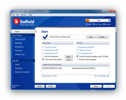 Salfeld Child Control 2013 13.555.0.0 - Limita el uso del PC