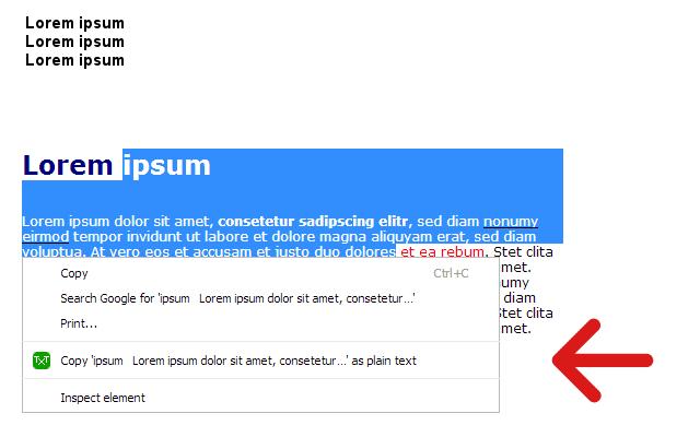 Copy as plain text - amaz.in/g chrome extension