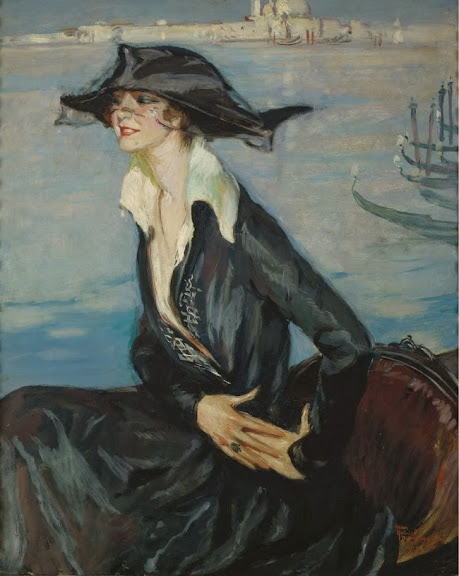 Jean-Gabriel Domergue - Woman in Black in Venice, 1919