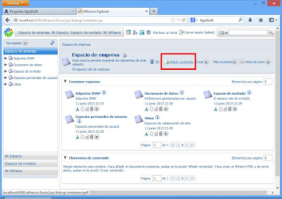 Administración de Alfresco Community, crear usuario, subir ficheros