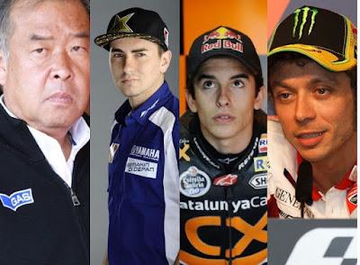 Shuhei Nakamoto, Jorge Lorenzo, Marc Marquez, Valentino Rossi