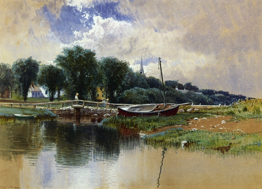 Alfred Thompson Bricher - Landscape with Children on a Bridge