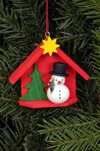 farbig 2 Miniatur Schneemänner mit Baum und Laterne H=5,5cm NEU Holzfigur