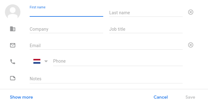 create contact in google mail